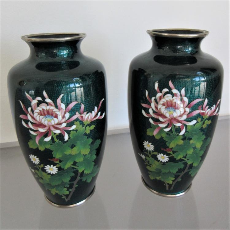 Pair Of Vintage Sato Cloisonne Vases