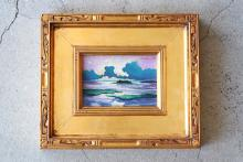 """Oil on Board Titled, """"Purple Reflections"""" by William Leon Stacks"""
