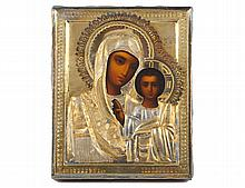 RUSSIAN SILVER GILT ICON OF THE MOTHER OF GOD