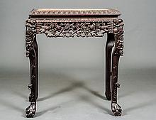 CARVED HARDWOOD SIDE TABLE
