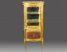 LOUIS XV STYLE GILTWOOD VERNIS MARTIN CURIO CABINET