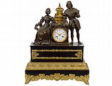 LOUIS XVI STYLE GILT AND PATINED BRONZE MANTEL CLOCK