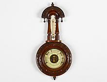 CARVED OAK BAROMETER/THERMOMETER