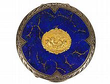CONTINENTAL SILVER, LAPIS AND GILT BRONZE COMPACT