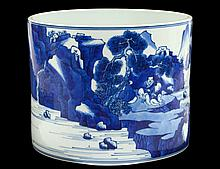 LARGE BLUE AND WHITE PORCELAIN BRUSH POT