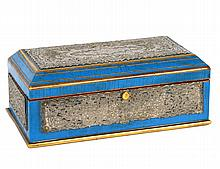 SILVER MOUNTED BLUE ENAMELED BOX