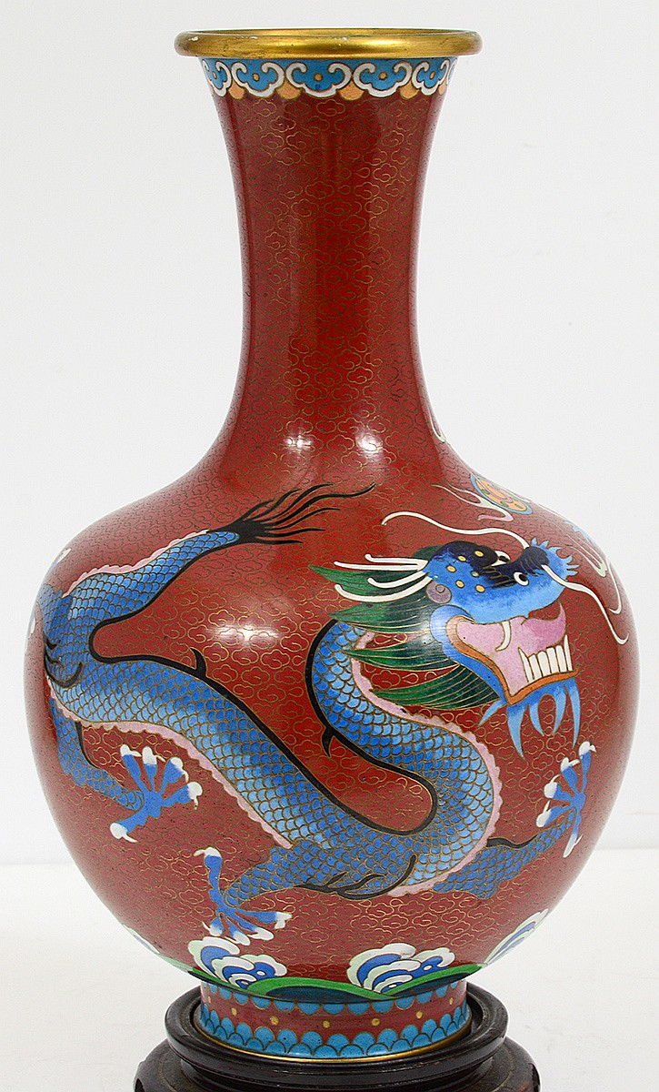 Cloisonne enamel vase for Asian antiques west palm beach