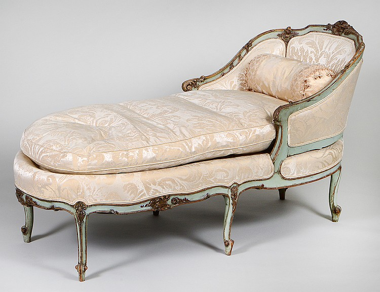 louis xv style painted chaise lounge. Black Bedroom Furniture Sets. Home Design Ideas