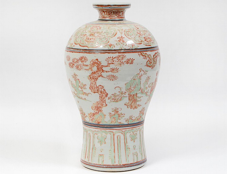 Chinese ming dynasty famille verte vase for Asian antiques west palm beach