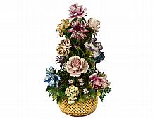 CONTINENTAL PORCELAIN FLORAL BOUQUET IN BASKET