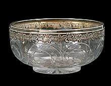 SILVER MOUNTED ENGRAVED GLASS BOWL