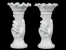 PAIR OF VICTORIAN MILK GLASS VASES
