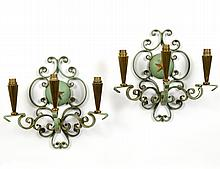PAIR OF PAINTED METAL AND BRASS THREE LIGHT SCONCES