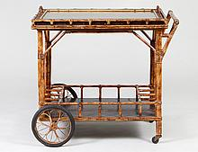 FAUX BAMBOO, RATTAN AND GLASS DRINKS CART