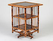 VICTORIAN SPOTTED BAMBOO & LACQUER BOOK STAND