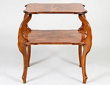 ART NOUVEAU MARQUETRY WALNUT TIERED TABLE, EMILE GALLE