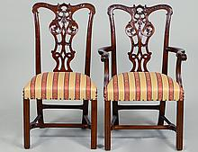 SET OF TEN GEORGE III STYLE DINING CHAIRS