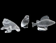 THREE LALIQUE COLORLESS GLASS ANIMALS