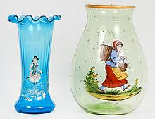 TWO CONTINENTAL ENAMEL DECORATED GLASS VASES