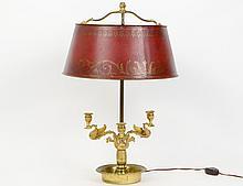 EMPIRE STYLE GILT BRONZE BOUILLOT LAMP