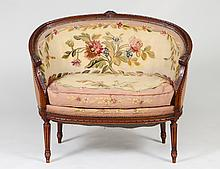 LOUIS XVI STYLE TAPESTRY UPHOLSTERED WALNUT CANAPE