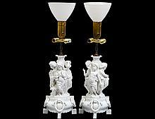 PAIR OF MEISSEN BLANC-DE-CHINE FIGURAL LAMPS