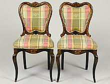 PAIR VICTORIAN JAPANNED BALOON BACK SIDE CHAIRS