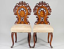 SET OF TEN BLACK FOREST CARVED WALNUT SIDE CHAIRS