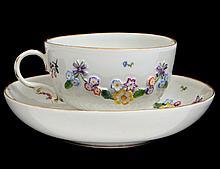 MEISSEN FLORAL DECORATED PORCELAIN TEA CUP & SAUCER
