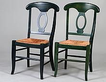 SET OF SIX GREEN PAINTED RUSH-SEAT SIDE CHAIRS