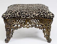 FAUX LEOPARD UPHOLSTERED GILT METAL FOOT STOOL