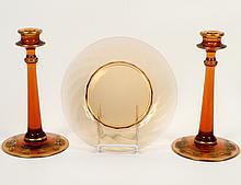 PAIR OF FOSTORIA AMBER GLASS CANDLESTICKS