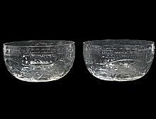 EIGHTEEN ENGLISH CUT COLORLESS GLASS FINGER BOWLS