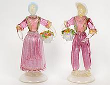 PAIR OF ITALIAN GLASS FIGURES OF FRUIT SELLERS