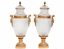 PAIR OF BACCARAT STYLE GILT BRONZE MOUNTED GLASS LIDDED URNS