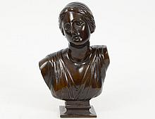 FRENCH PATINATED BRONZE BUST OF A CLASSICAL MAIDEN