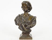FRENCH PATINATED BRONZE BUST OF A LADY