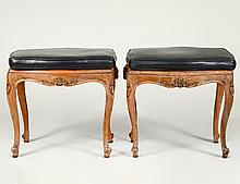 PAIR OF LOUIS XV STYLE CANED WALNUT STOOLS