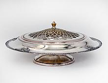 SILVER PLATED CENTER BOWL AND PIERCED COVER