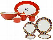 FIFTY-FOUR PIECE FITZ & FLOYD PORCELAIN DINNER SERVICE