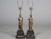 PAIR OF BRASS FIGURAL LAMPS