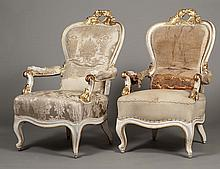 PAIR OF ROCOCO STYLE PAINTED AND GILT ARM CHAIRS