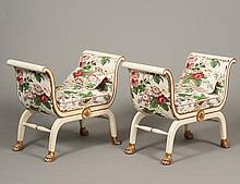 PAIR OF PARCEL GILT AND PAINTED STOOLS