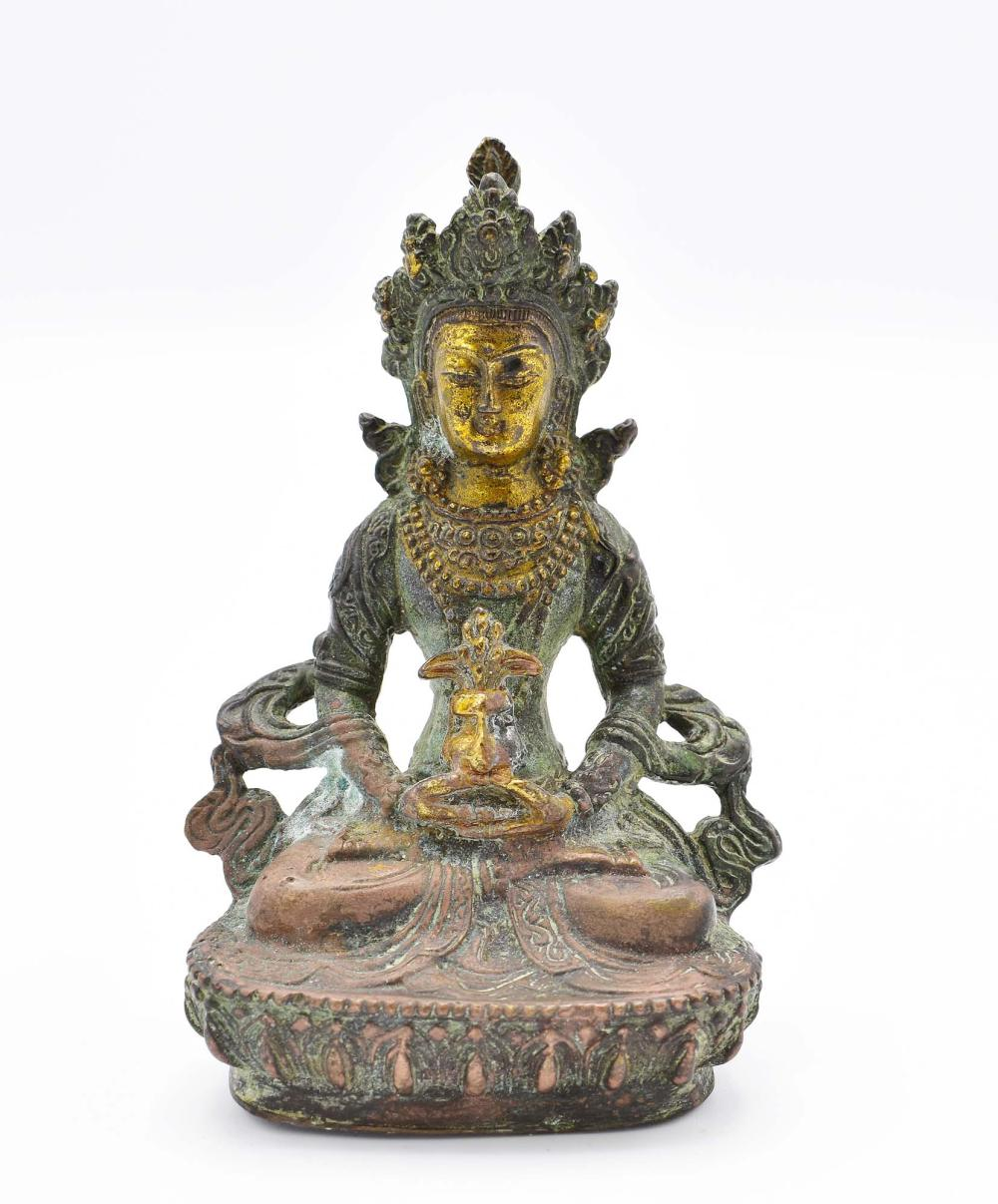 SINO-TIBETAN BRONZE SEATED DEITY