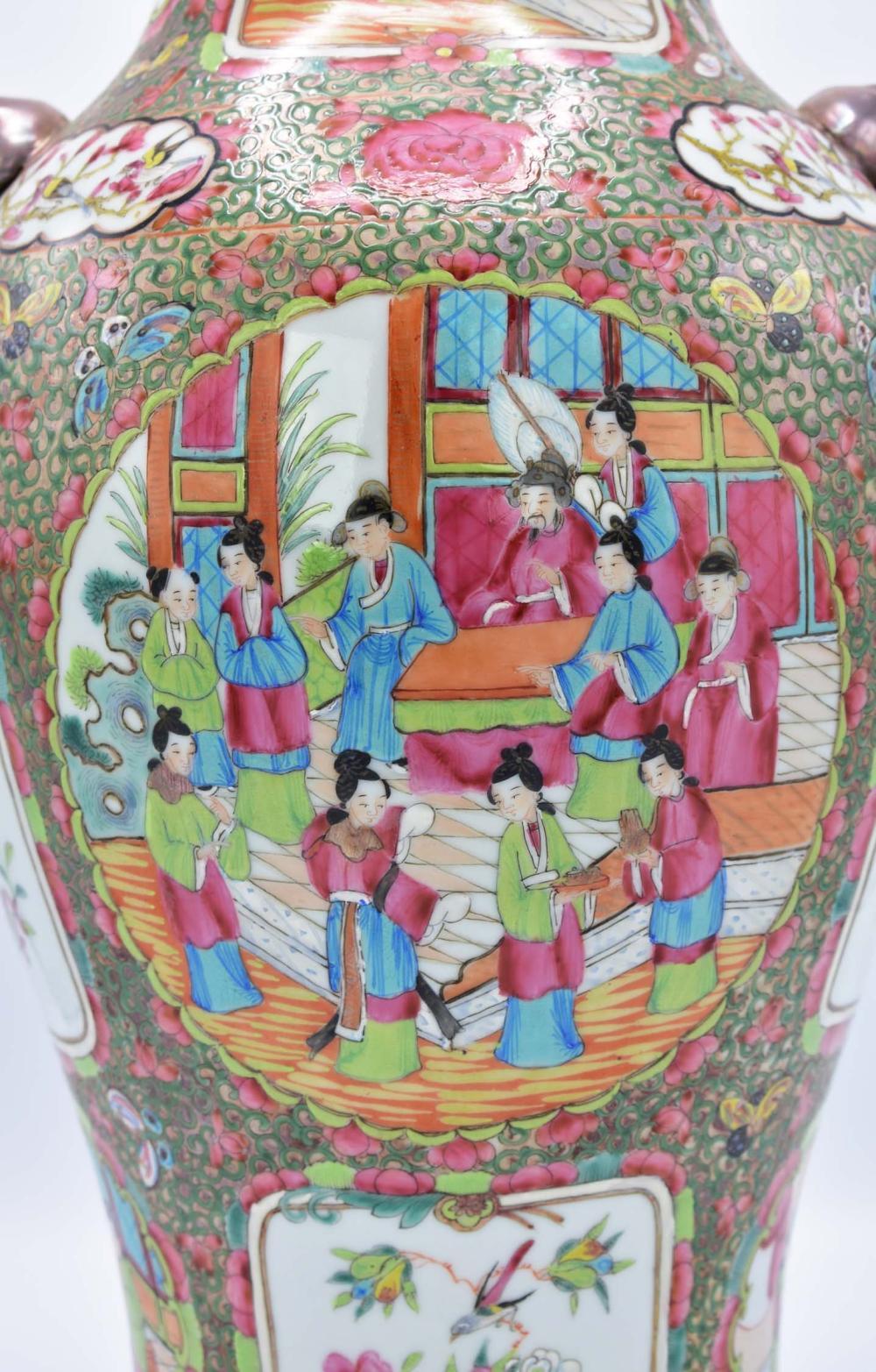 Lot 48: CHINESE EXPORT ROSE MEDALLION PORCELAIN VASE
