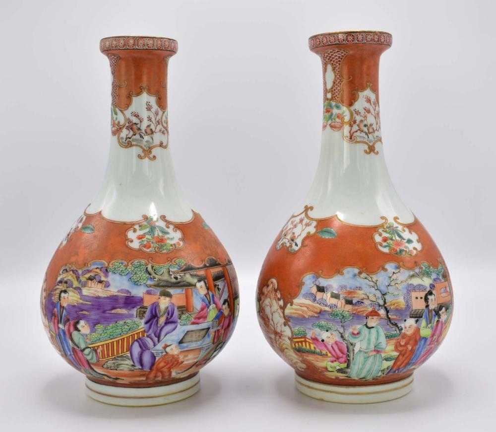 PAIR OF CHINESE MANDARIN PALETTE PORCELAIN VASES