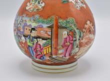 Lot 49: PAIR OF CHINESE MANDARIN PALETTE PORCELAIN VASES