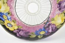 Lot 1: PAIRPOINT PAINTED PUFFY HUMMINGBIRD GLASS TABLE LAMP