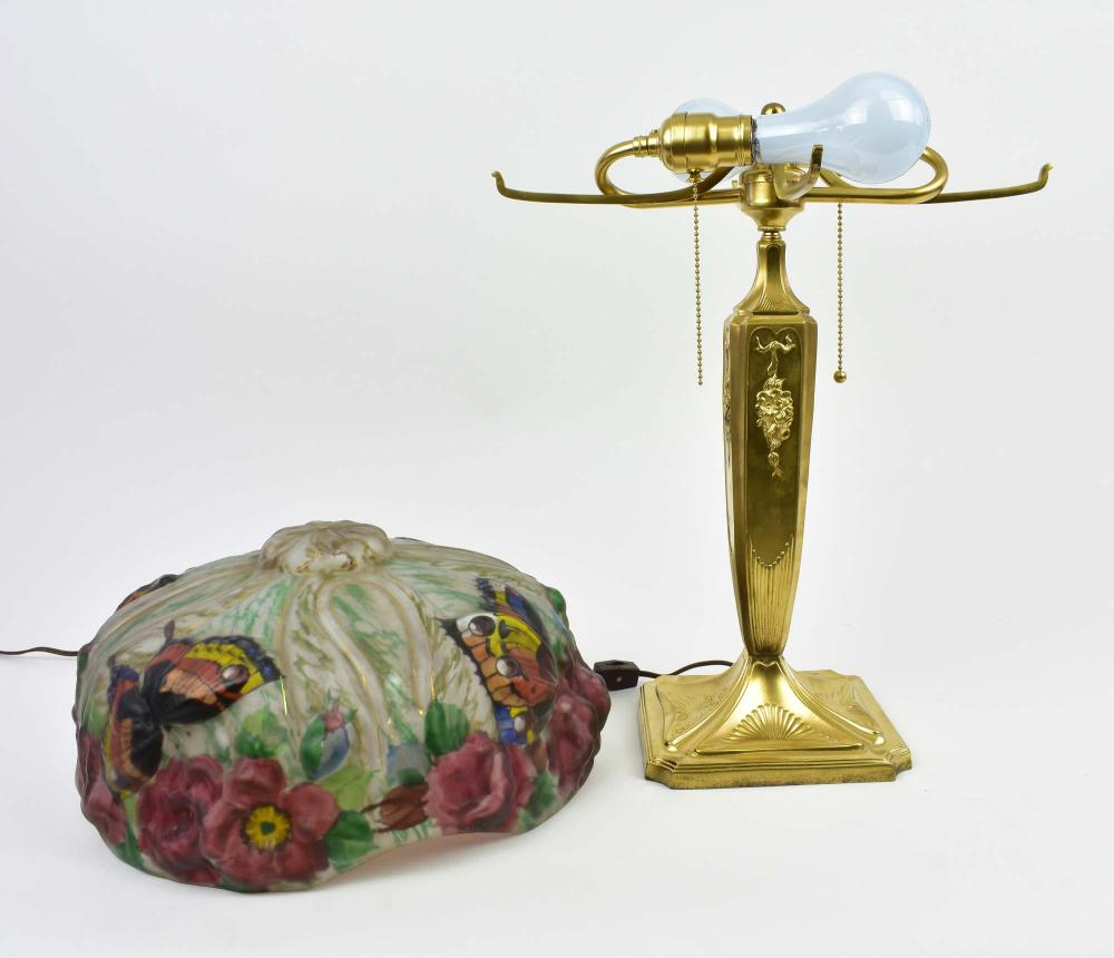 Lot 3: PAIRPOINT PUFFY PAINTED GLASS BUTTERFLY LAMP