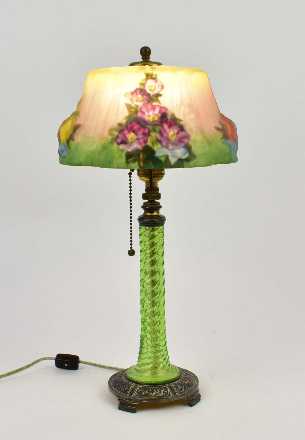 PAIRPOINT PUFFY REVERSE PAINTED HOLLYHOCK TABLE LAMP